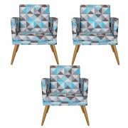 Kit 3 Poltronas Decorativa com Rodapé Nina Triângulo Azul - Bela Casa Shop