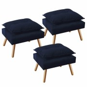 Kit 3 Puff's Decorativo Opala Plus Azul Marinho