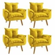 Kit 4 Poltrona Decorativa Opala Plus Amarelo
