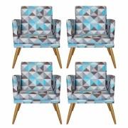 Kit 4 Poltronas Decorativa com Rodapé Nina Triângulo Azul - Bela Casa Shop