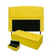 Kit Cabeceira Giovana Plus Com Calçadeira Suede Amarelo 90cm Solteiro -Bela Casa Shop