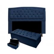 Kit Cabeceira Giovana Plus Com Calçadeira Suede Azul Marinho 90cm Solteiro -Bela Casa Shop