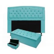 Kit Cabeceira Giovana Plus Com Calçadeira Suede Azul Turquesa 90cm Solteiro -Bela Casa Shop