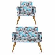 Kit Namoradeira Decorativa e 1 Poltrona  Nina Triângulo Azul- Bela Casa Shop