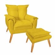 Kit Poltrona De Amamentação com Puff Decorativo Paris Suede Amarelo Com Pés Losango -Bela Casa Shop