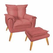 Kit Poltrona De Amamentação com Puff Decorativo Paris Suede Rosa Com Pés Losango -Bela Casa Shop