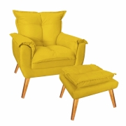 Kit Poltrona Decorativa com Puff Decorativo Paris Suede Amarelo Com Pés Losango