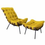 Kit Poltrona Decorativa Costela Com Puff Costela Suede Amarelo
