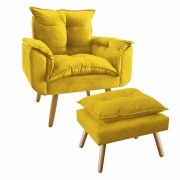Kit Poltrona Decorativa Opala Plus com Puff Amarelo