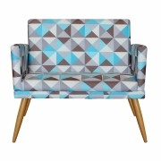 Namoradeira Decorativa com Rodapé Nina Triângulo Azul - Bela Casa Shop