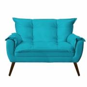 Namoradeira Decorativa Opala Suede Azul Turquesa Pés Palito -Bela Casa Shop