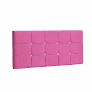 Painel Ana Luísa Estofada King 195cm Tecido Sintético Pink Com Strass Branco Bela Casa Shop