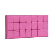 Painel Espanha Estofada Casal 140cm Tecido Sintético Pink Com Strass Bela Casa Shop