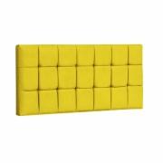 Painel Espanha Estofada Casal 140cm Suede Amarelo Com Strass Bela Casa Shop