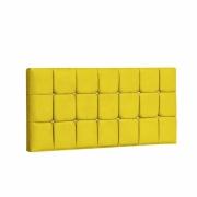 Painel Espanha Estofada King 195cm Tecido Sintético Amarelo Com Strass Branco Bela Casa Shop