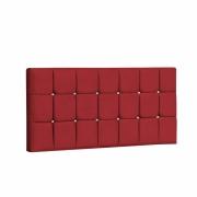 Painel Espanha Estofada Queen 160cm Suede Vermelho Com Strass Branco Bela Casa Shop