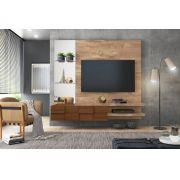 Painel Home Suspenso Turim Rústico York/Castanho Para TV de Até 55 - DJ Móveis