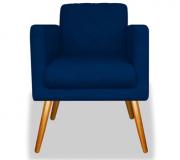 Poltrona Decorativa Charlote Suede Azul Marinho c Rodapé