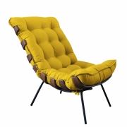 Poltrona Decorativa Costela Suede Amarelo Bela Casa Shop