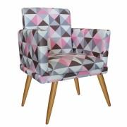 Poltrona Decorativa Nina com Rodapé Triângulo Rosa