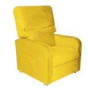 Poltrona do Papai Reclinável Com 1 Estácio Suede Amarelo Bela Casa Shop