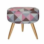 Puff decorativo redondo triangulo rosa - Bela Casa Shop