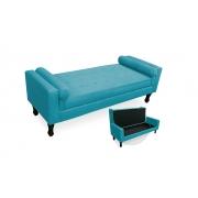 Recamier Báu Decorativo Felix  Com Capitonê 195cm Suede Azul Turquesa -Bela Casa Shop