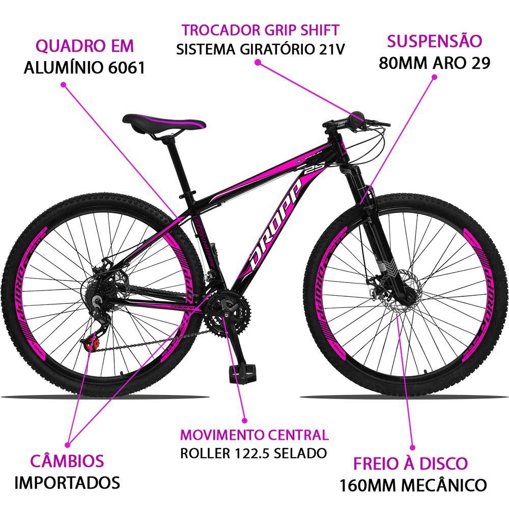 Bicicleta Aro 29 Dropp Aluminum 21v Freio a disco Mecânico Quadro 19 Preto/Rosa