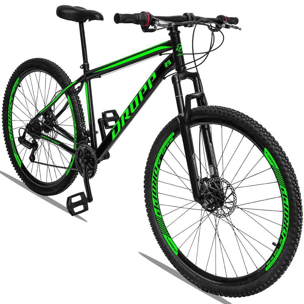 Bicicleta Aro 29 Dropp Sport 21v Câmbio Traseiro Shimano com Suspensão Quadro 19 Preto/Verde