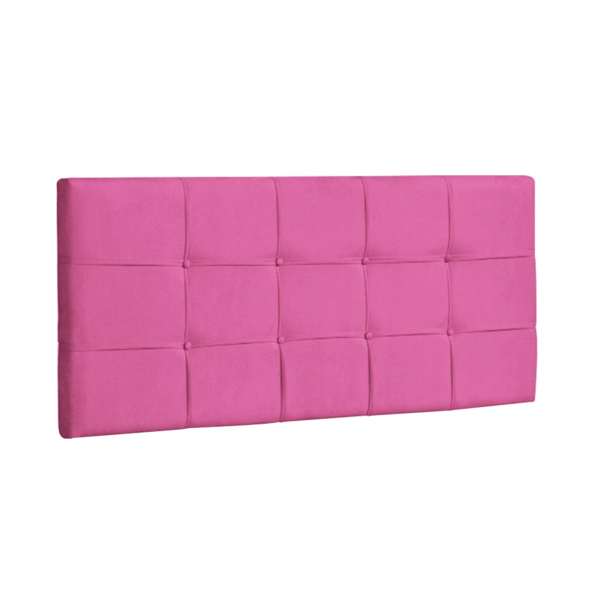 Cabeceira Ana Luísa Estofada Solteiro 90cm Tecido Sintético Pink Com Strass Bela Casa Shop