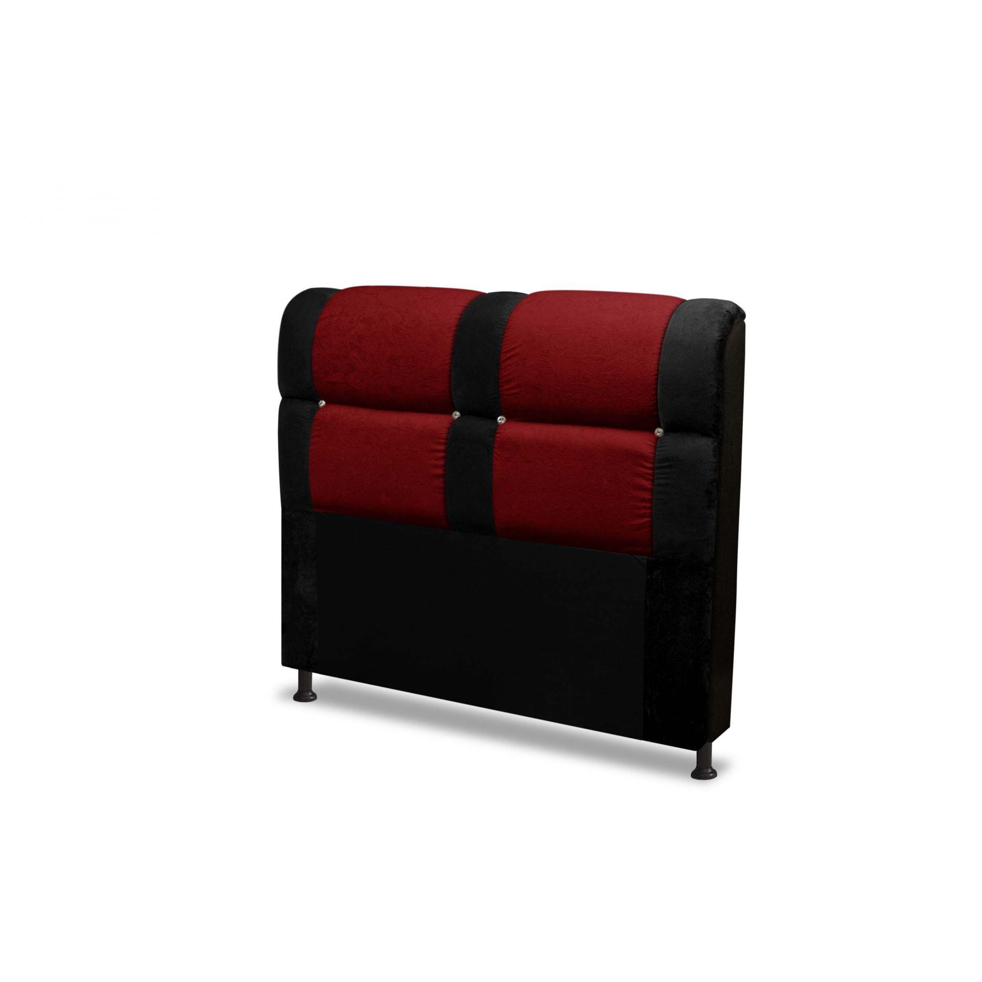 Cabeceira Colômbia Preto Com Vermelho 160cm Queen