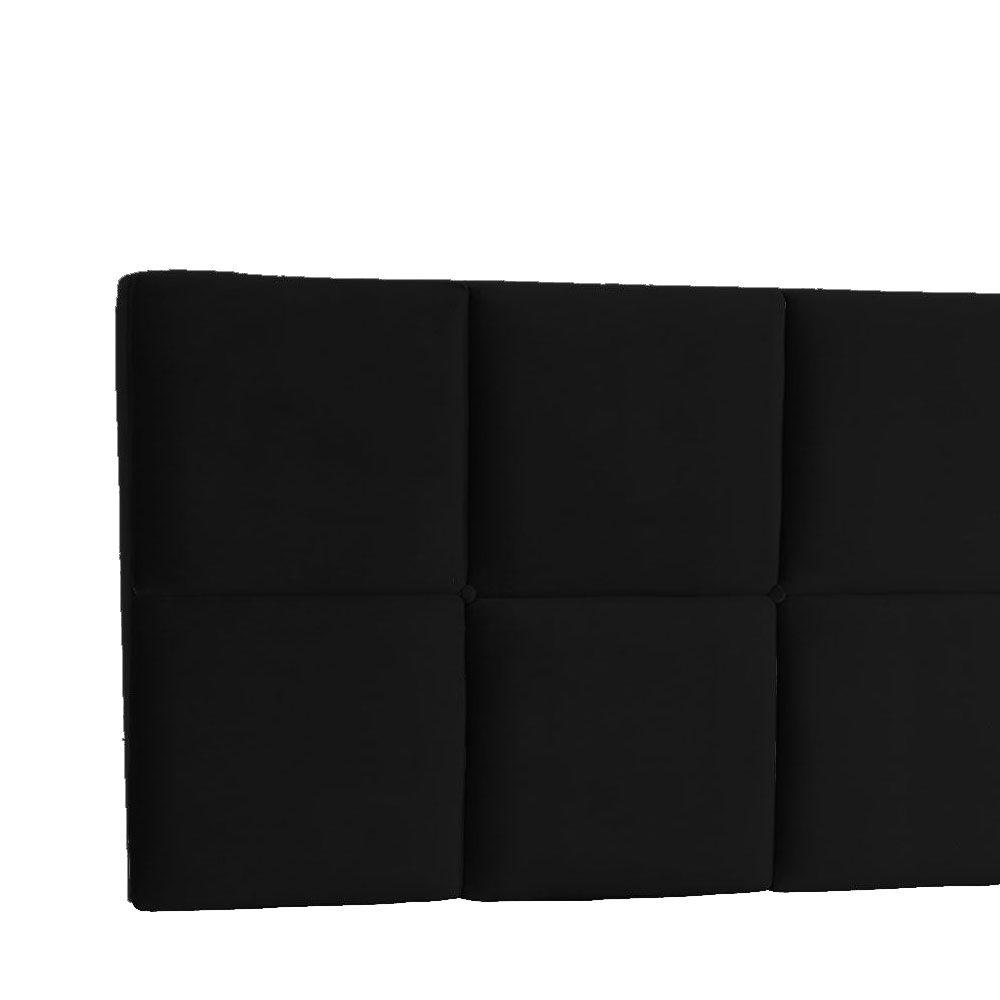 Cabeceira Painel Casal Poliana 140 cm Suede Preto
