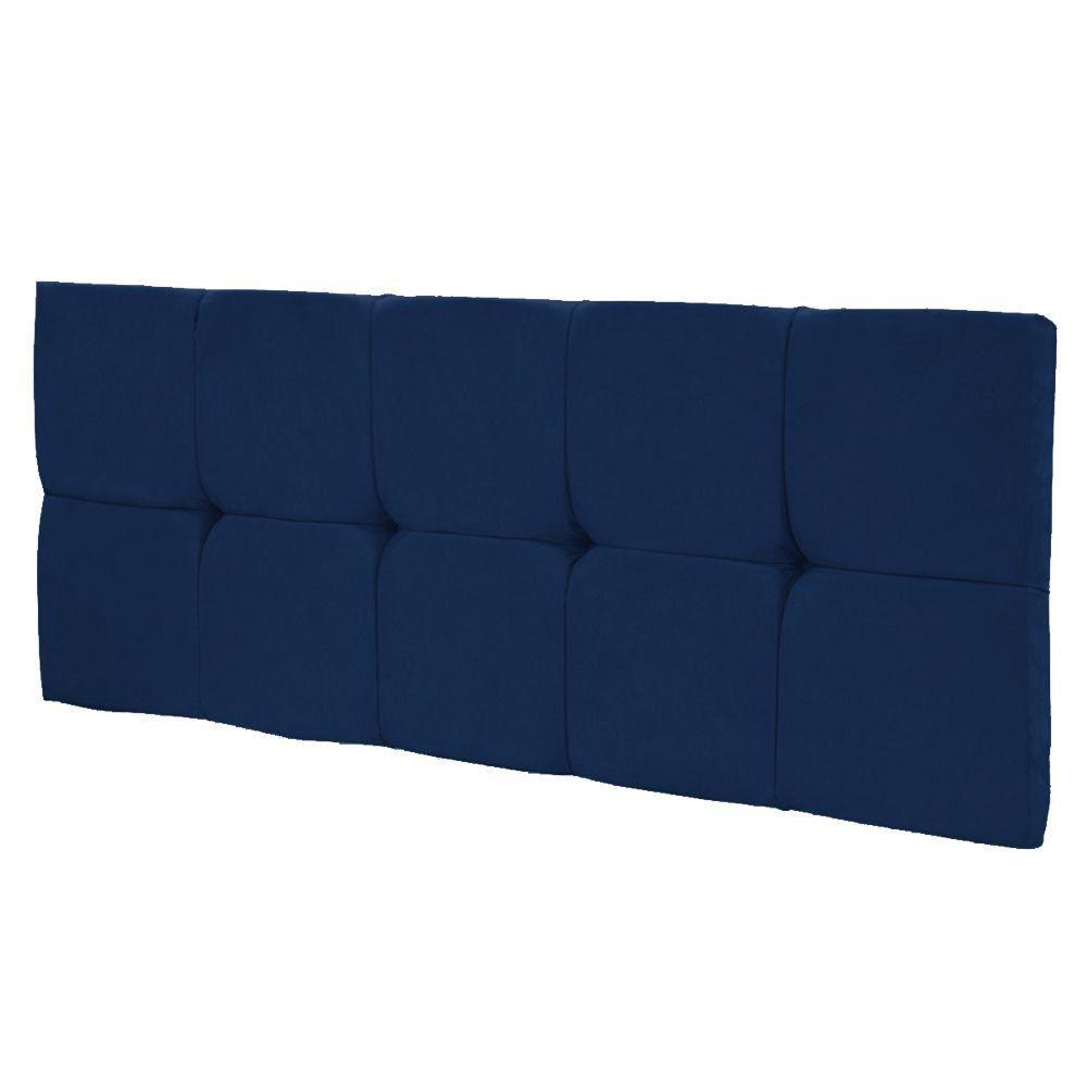 Cabeceira Painel Nina Solteiro 100 cm Suede Azul Marinho