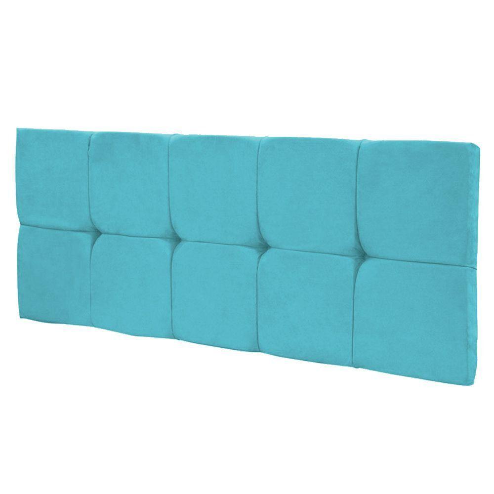 Cabeceira Painel Nina Solteiro 90 cm Suede Azul Turquesa