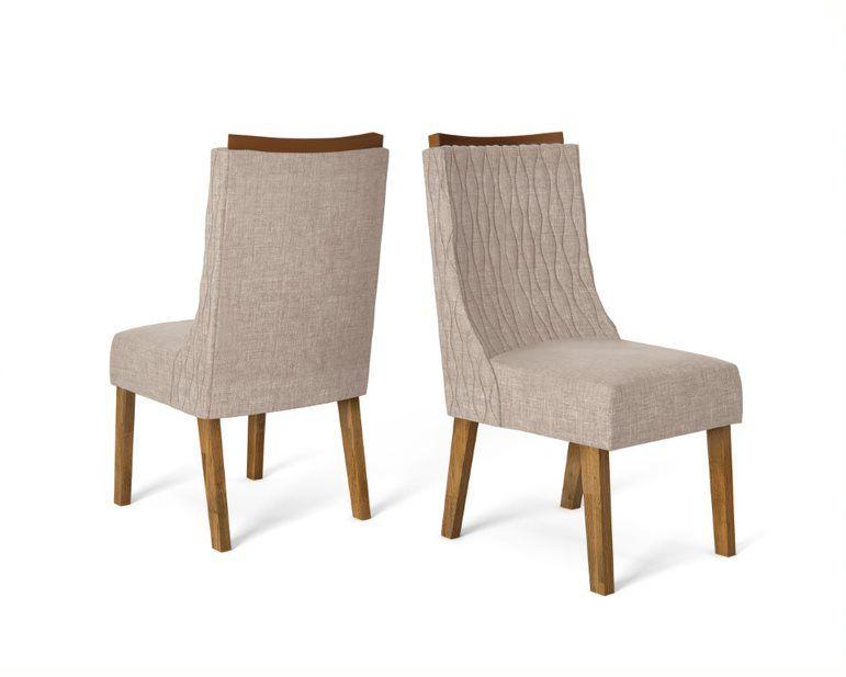 Cadeira De Jantar AMÉLIA TRONCO RIPADO LINHO ARIDO- CONJUNTO COM 2 CADEIRAS