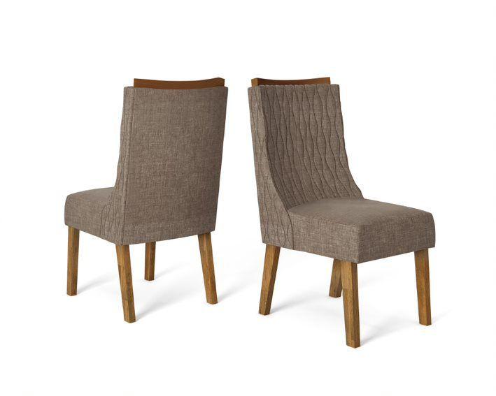 Cadeira De Jantar AMÉLIA TRONCO RIPADO LINHO Marrom- CONJUNTO COM 2 CADEIRAS