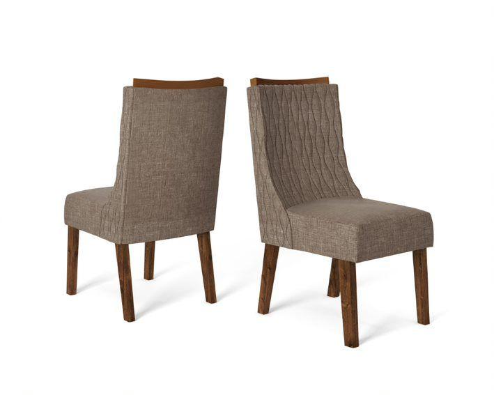 Cadeira De Jantar AMELIA TRUFA LINHO MARROM-CONJUNTO COM 2 CADEIRAS