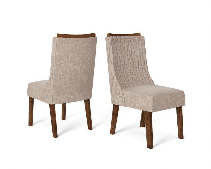 Cadeira De Jantar AMELIA TRUFA LINHO URBANO- CONJUNTO COM 2 CADEIRAS