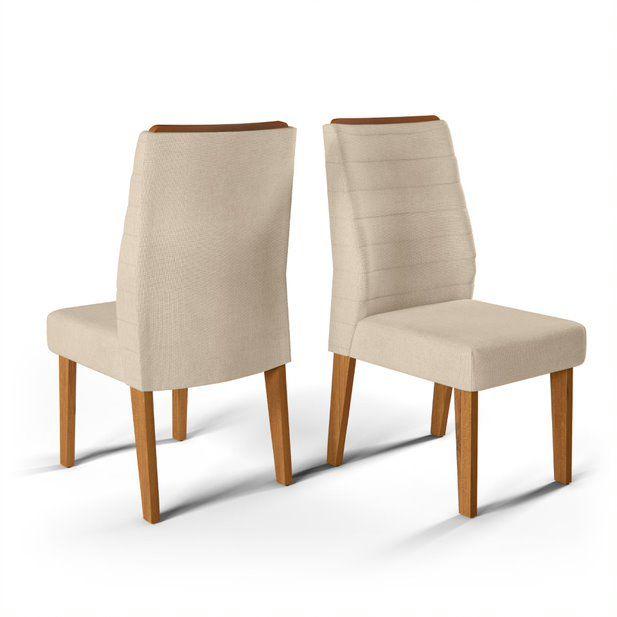 Cadeira De Jantar  CURVATA TELHA LINHO ARIDO- CONJUNTO COM 2 CADEIRAS
