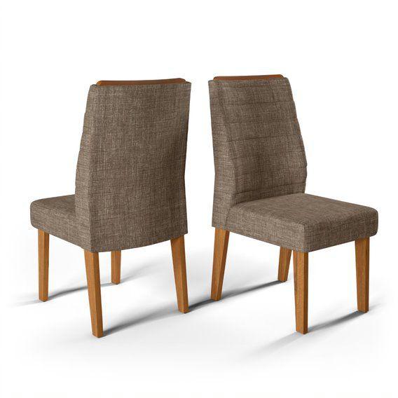 Cadeira De Jantar CURVATA TELHA LINHO MARROM- CONJUNTO COM 2 CADEIRAS