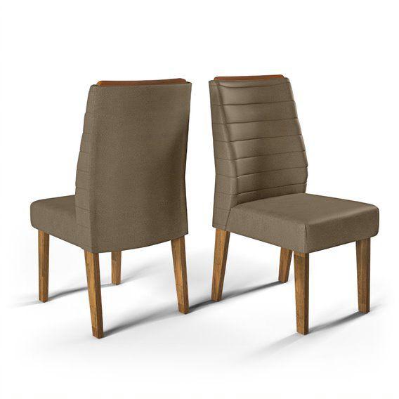 Cadeira De Jantar CURVATA TRONCO RIPADO LINHO MARROM- CONJUNTO COM 2 CADEIRAS