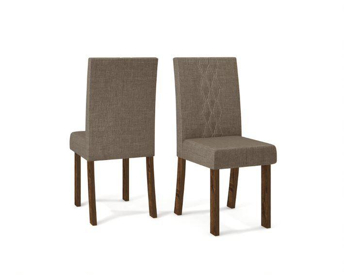 Cadeira De Jantar ELISA TRUFA LINHO MARROM - CONJUNTO COM 2 CADEIRAS