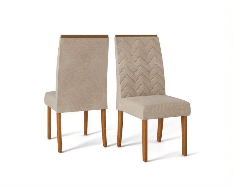 Cadeira De Jantar LAURA TELHA LINHO ÁRIDO - CONJUNTO COM 2 CADEIRAS