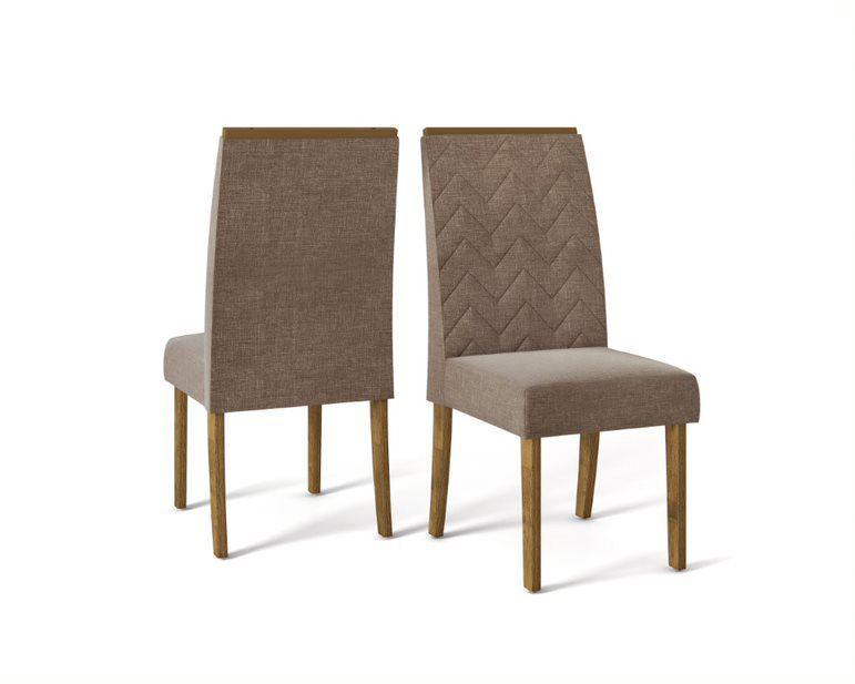 Cadeira De Jantar LAURA TRONCO RIPADO MARROM- CONJUNTO COM 2 CADEIRAS