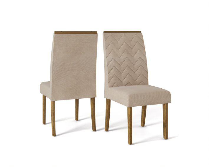 Cadeira De Jantar LAURA TRONCO RIPADO LINHO ARIDO- CONJUNTO COM 2 CADEIRAS