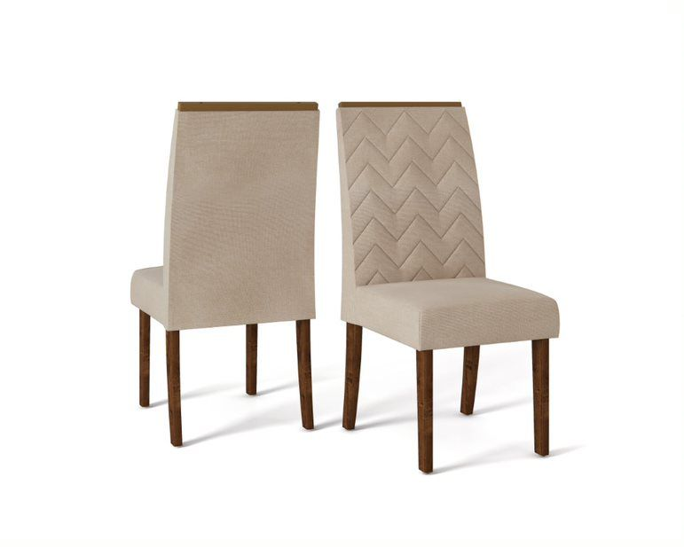 Cadeira De Jantar LAURA TRONCO RIPADO LINHO  - CONJUNTO COM 2 CADEIRAS
