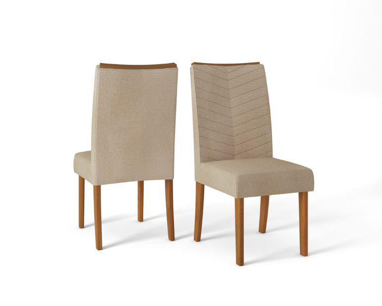 Cadeira De Jantar LUCILA TELHA LINHO ÁRIDO - CONJUNTO COM 2 CADEIRAS