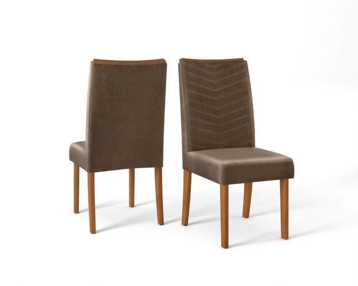 Cadeira De Jantar LUCILA TELHA MARROM CAFÉ- CONJUNTO COM 2 CADEIRAS