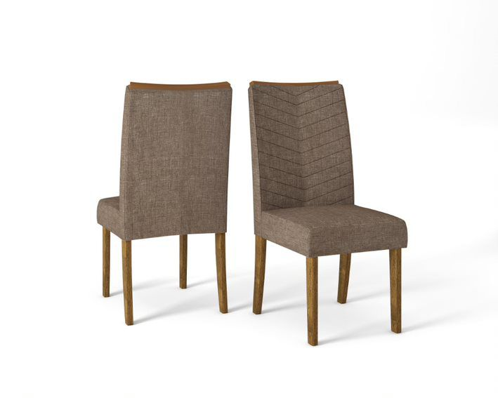Cadeira De Jantar LUCILA TRONCO RIPADO LINHO ÁRIDO- CONJUNTO COM 2 CADEIRAS