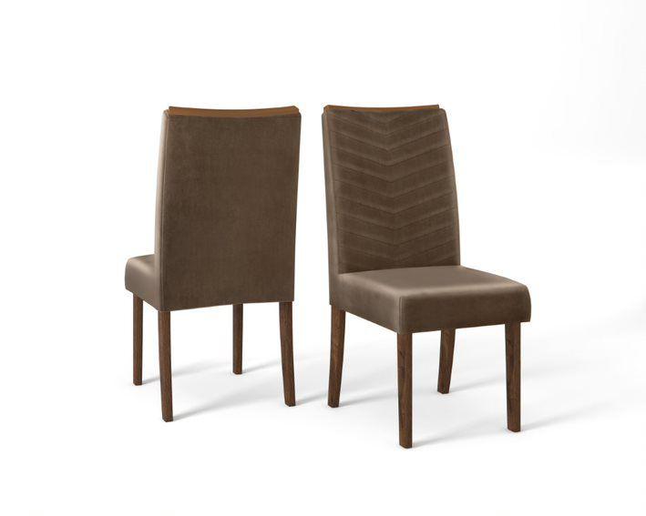 Cadeira De Jantar LUCILA TRUFA  MARROM CAFÉ- CONJUNTO COM 2 CADEIRAS